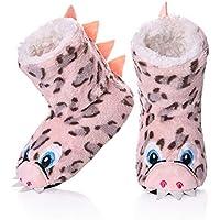 FANZERO Kids Girls Boys Floor Slippers Cute Animal Soft Warm Plush Lining Non-Slip House Shoes Winter Boot Socks 2-7 Year Old
