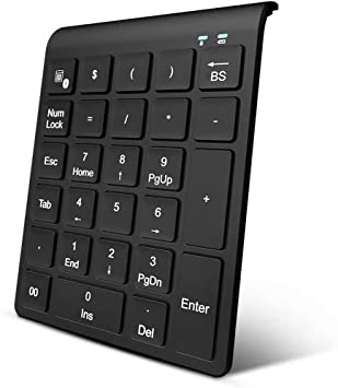 Zwini Teclado numérico Bluetooth Teclado numérico inalámbrico 27 Teclas Teclado numérico Externo para computadora portátil PC de Escritorio Tableta ...