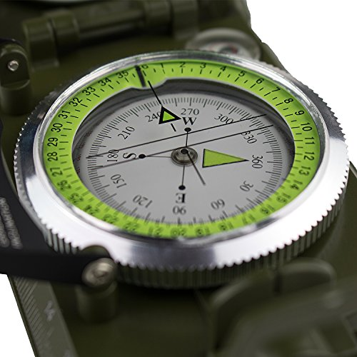 GWHOLE Military Lensatic Sighting Clinometer Compass Waterproof for Outdoor Activities