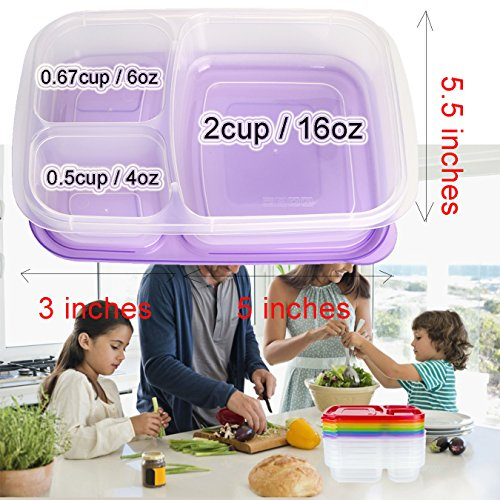 Meal Prep Containers 3 Compartment 10 Pack Food Prep Containers with Lids Portion Control Reauable Freezer Food Storage Plastic Salad Stackable Bento Lunch Box, Microwave, Dishwasher Safe by SCIONE (Image #5)'