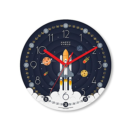 HappyVirus 11.22'' Educational Wall Clock, Children's Time Telling Teacher, Silent Non Ticking Home Decoration (Spaceship) #2104 by HappyVirus