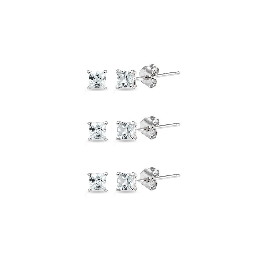 Sterling Silver Cubic Zirconia set of 3 Princess-Cut Square 2mm Stud Earrings
