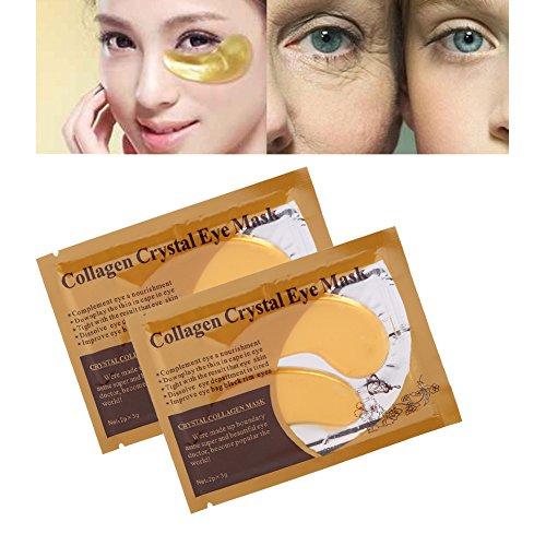Salmue 10pcs Gel Collagen Eye Mask Anti Wrinkle Ageing Crystal Moisturiser Eyelid Patch Pad, Reduce Dark Circles, Puffy Eyes, Eye Bags, Fine Lines & Wrinkles
