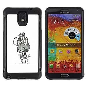 Suave TPU GEL Carcasa Funda Silicona Blando Estuche Caso de protección (para) Samsung Note 3 / CECELL Phone case / / Girl Artist Art Drawing Pencil Sitting Long Skirt /
