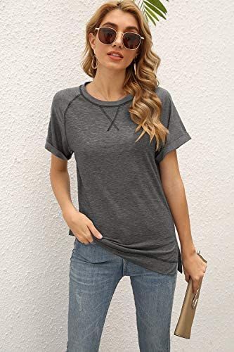 MOPOOGOSS Womens Crewneck Raglan Short Sleeve T Shirts Color Block Casual Loose Fit Tunic Tops Blouse