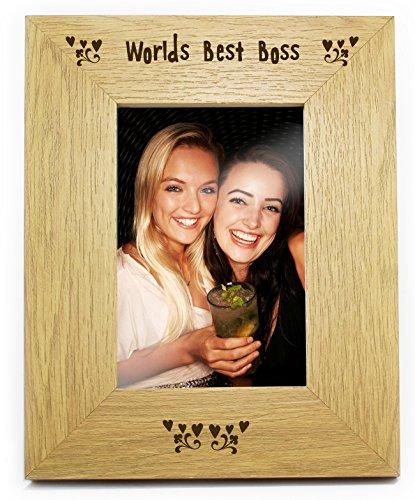 Worlds World's Best BOSS Wooden Wood 6x4 6 x 4 Portrait Photoframe Keepsake...