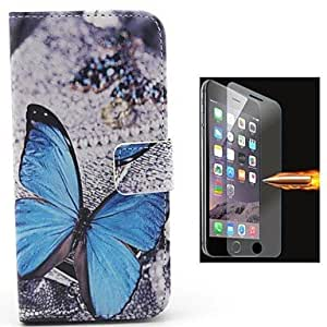 JAJAY Big Blue Butterfly Pattern PU Leather Full Body Case with Explosion-Proof Glass Film for iPhone 6