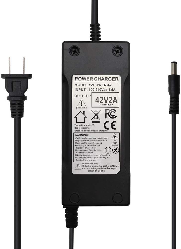 Battery Charger 36V//38V//40V//42V Lithium LiPo Battery 2A DCJ5.5 pin for Ebike