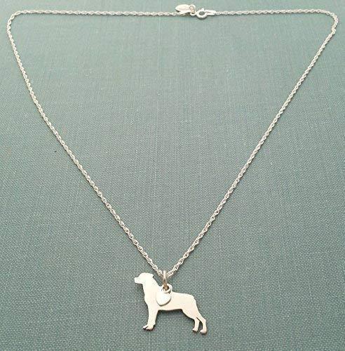 925 Sterling Silver Rottweiler Dog Pendant Necklace