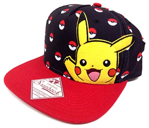 Pokemon Black & Red Pikachu Pokeball Snapback]()