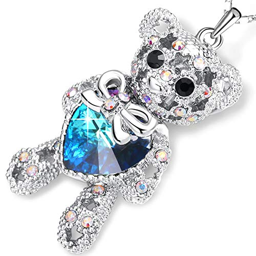 - PLATO H Swarovski Element Bear Necklace Teddy Bear Pendant Neckalce Love Heart Bear Charm Pendant Necklace, Ocean Blue Heart Birthday Birthstone Gifts for Women, Bear Crystal Necklace