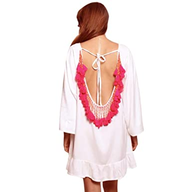 1d6037d837ef Sixcup Women s Tassels Trim Kaftan Chiffon Swimwear Beach Loose Bikini Cover  Up Backless Loose Women Tops