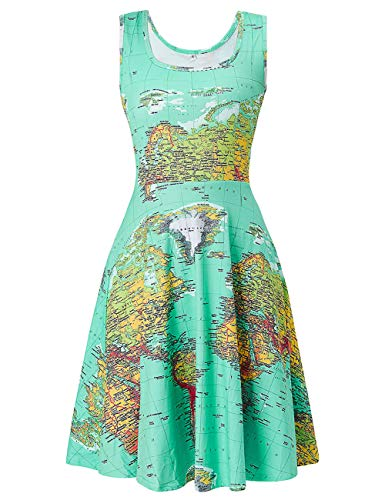(Uideazone Womens Scoop Neck Sleeveless Vintage Elegant Dress Casual A-Line 3D Print Map Dresses)