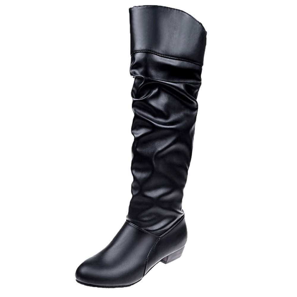 Botas Plisadas Mujer, Mujeres Rodilla-Hight Botas de Color sólido Botas de Cuero Plana Slip-on Botas de Fiesta Zapatos