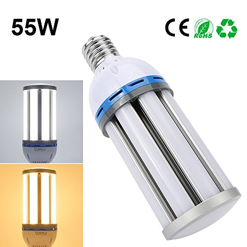Derlights 55W E27 Led Corn Light Bulbs, 250-300 Watt Replacement, Warm White 3000K, 135pcs SMD5730 Chips, 360 Degree Lighting, AC 85~265V, Perfect for Warehouse Outdoor and Street Lighting