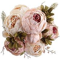 Amkun – Bouquet vintage di peonie artificiali in seta, ornamento per casa e matrimoni, confezione da 1 Light Pink