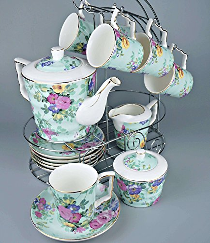 [Porcelain Tea Set 16 Pieces - Large Teapot with Lid + Creamer Pitcher + Covered Sugar Bowl + 6 Cups + 6 Saucers + Hanger - The