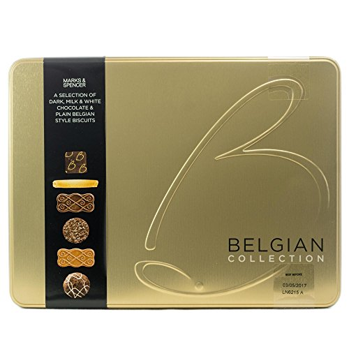 M&S Marks & Spencer Belgian Collection Biscuit Tin 400g (14.1oz) – Selection of Plain & Chocolate Belgian Biscuits