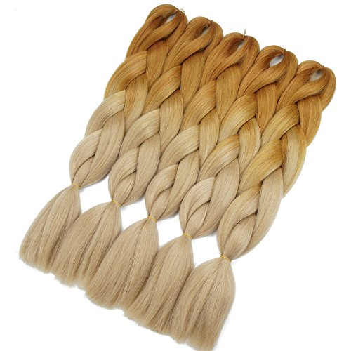 Crochet Braids Ombre Jumbo Braiding Hair Extensions Synthetic Yaki Straight 5 Pieces 2 Tone (Brown ()