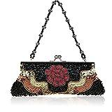 Flowers party moniliforme clutch bag Dinner Package Handbag folk style sequin handbag-A