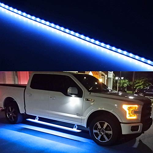 iJDMTOY (2) 40-Inch 63-SMD Flexible LED Running Board/Side Step Lighting Kit For Ford GMC Chevy Dodge Toyota Nissan Honda Truck SUV, Ultra Blue ()