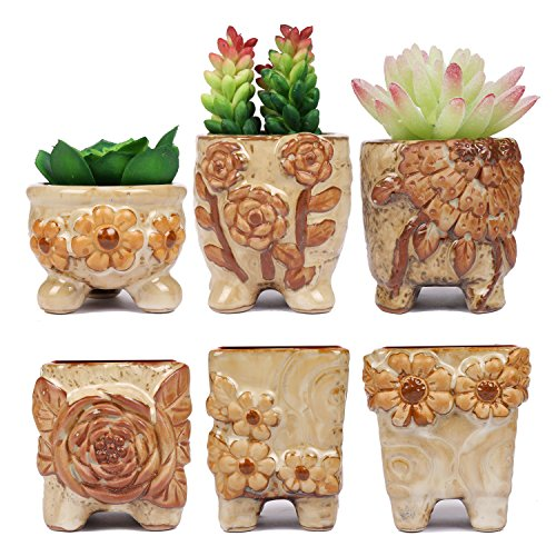 ROSE CREATE 6 Pcs Ceramic Planters, 2.75 Inches Mini Flower Pots for Succulent Cactus Flowerpot Bonsai Garden (Beige)