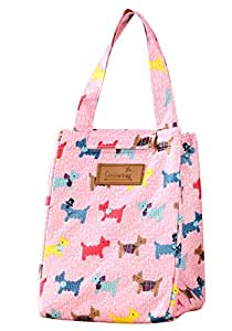WOOSAL Fold-over Insulated Lunch Bag with Handle and Velcro Closure, Reusable Dogs Print School Travel Lunch Box Tote Cooler Bag (Pink)