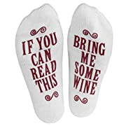 """Haute Soiree - Women's Novelty Socks - """"If You Can Read This, Bring Me Some"""" (Wine, Chocolate, Coffee) Novelty Socks (Burgundy)"""