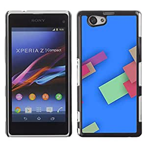 MOBMART Carcasa Funda Case Cover Armor Shell PARA Xperia Z1 Compact D5503 - Colored Boxes In Sky Blue