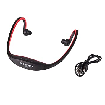 Fenghong Deportes Auriculares MP3, Auriculares inalámbricos Bluetooth Ranura para Tarjeta Micro SD TF Radio FM Auriculares con Gancho para la Oreja Rosa: ...
