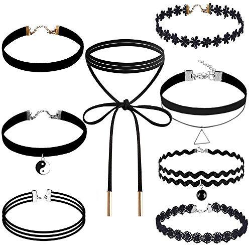 Choker Set, Outee 8 Pcs Black Choker Necklace Velvet Choker Black Henna Tattoo Choker for Girls Womens