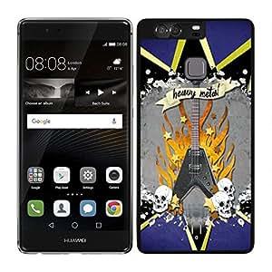funda carcasa para Huawei P9 Plus guitarra heavy metal borde negro
