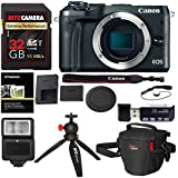 Canon EOS M6 Mirrorless Digital Camera Body (Black), Ritz Gear Extreme SD 32GB, Tabletop Tripod, Photo Pack, Screen Protector, Card Reader, SD SDHC, 2.0, Camera Flash, and Accessory Bundle