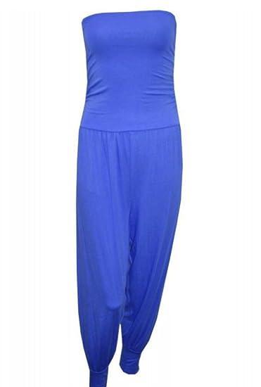 e20fb7ea7f3 New Women Ladies Strapless Bandeau Boob Tube Harem Jumpsuit Dress Plus Size   Amazon.co.uk  Clothing