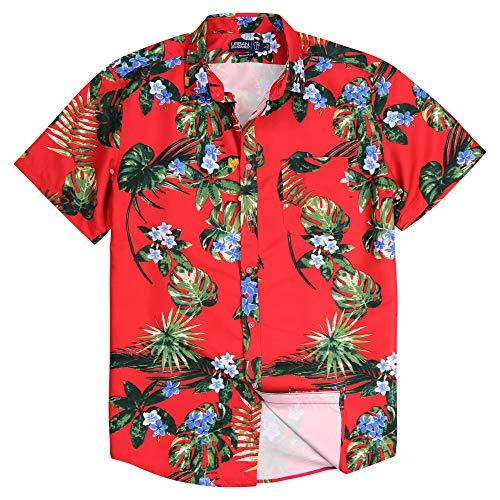 Men's Lightweight Pattern Short Sleeve Shirt (Hawaiian Flower (Red), Regular Fit: Large)