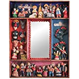 NOVICA Religious Wood and Ceramic Wall Mounted Mirror, Multicolor 'Little Carnaval'