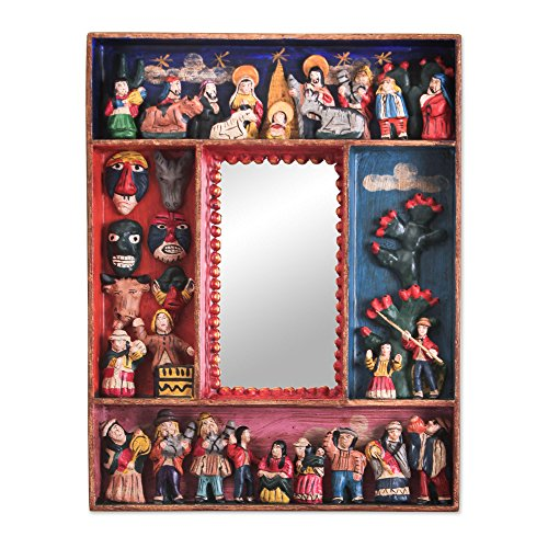NOVICA Religious Wood and Ceramic Wall Little Carnaval Mirror
