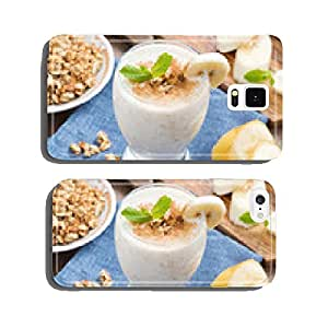 milkshake with banana, granola and cinnamon in a glass, top view cell phone cover case iPhone5