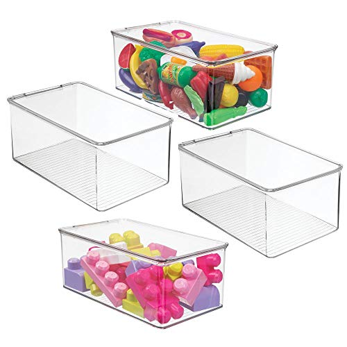 mDesign Stackable Closet Plastic Storage Bin Box with Lid - Container for Organizing Child's/Kids Toys, Action Figures, Crayons, Markers, Building Blocks, Puzzles, Crafts - 5