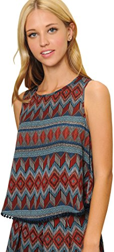 Geometric Print Sleeveless - Trend Director Women's Boho Tribal & Geometric Print Sleeveless Cropped Top w Crochet Hem (Large)