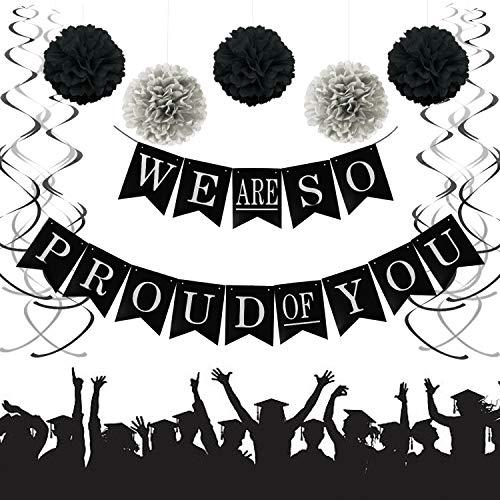 We Are So Proud of You Graduation Banner, Black and Silver Graduation Party Supplies 2019 with 12 Swirls Packs, Pom Poms Flowers, Classy Party Supplies for 2019 Graduation Decorations (33 PCS) TD015]()