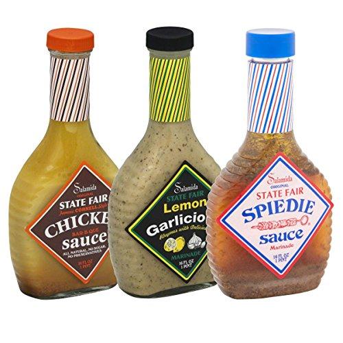 - 3-Pack Salamida State Fair 16 Oz Marinades: Chicken BBQ, Lemon Garlicious, Spiedie