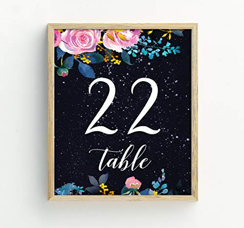 Darling Souvenir Elegent Floral & Galaxy Table Numbers Decorative Table Top Cards DIY-5