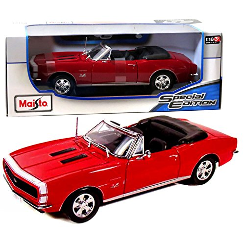 18 Maisto Special Edition (Maisto Year 2014 Special Edition Series 1:18 Scale Die Cast Car Set - Red Color Classic Roadster 1967 CHEVROLET CAMARO RS/SS 396 with Display Base (Car Dimension: 9-1/2