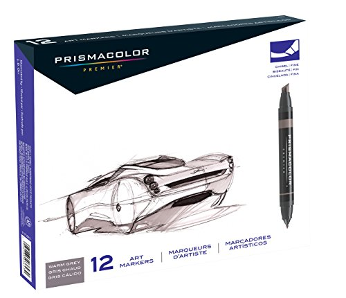 Prismacolor Premier Double-Ended Art Markers, Fine and Chisel Tip, Warm Grey, 12-Count (3623) by Prismacolor