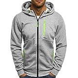 AMSKY Hoodies for Men Zipper,Mens' Autum Winter Long Sleeve Zipper Color Block Hooded Sweatshirt Cardigan Tops