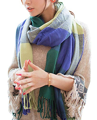 Wander Agio Women's Fashion Long Shawl Big Grid Winter Warm Large Scarf Green -