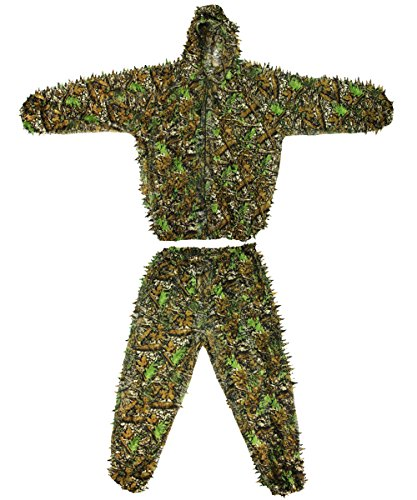 Ghillie Sniper Costume (Langxun 3D Leaves Camo Suits Woodland Camouflage Clothing Army Sniper Military Clothes for Jungle Hunting, Shooting, Airsoft, Wildlife Photography, Halloween)