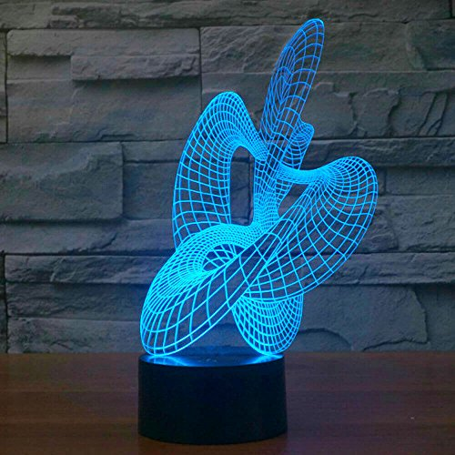 Abstract art Sculpture Lamp, Amazing 7 Colors Optical Illusion 3D Touch Button LED Light, USB Power ZB2972