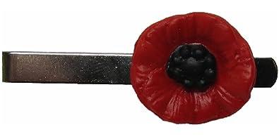 Handmade Fimo Red Black Poppy Flower Mens Tie Pin Slide Clip